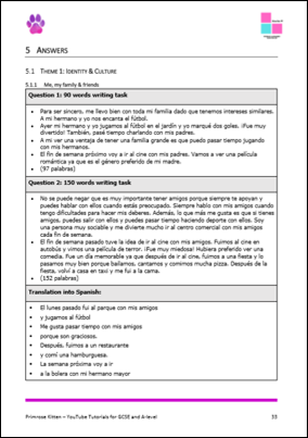 GCSE Spanish Writing Workbook - AQA - Higher Tier