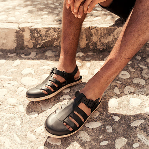 Sandalias Cangrejeras Esparto - THE CARIBBEAN BLACK MATTE