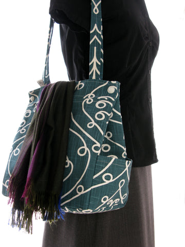Large Purse in Teal Baroque Print