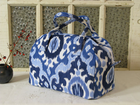 Bowling Bag Handbag Zippered Purse Blue Ikat
