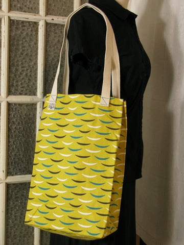Yellow Turquoise and Brown Market Tote Shopping Bag Carryall Shoulder Bag