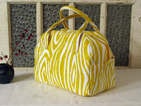 Bowling Bag Handbag Zippered Purse Yellow Woodgrain