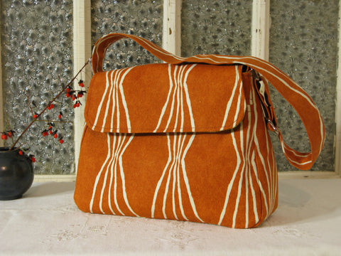 Medium Purse in Burnt Orange and Avocado Green