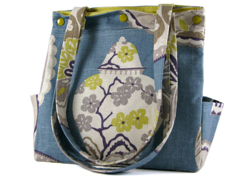 Large Purse Caryall Tote in Periwinkle Blue with Multicolour Edwardian Print