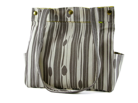 Large Purse Caryall Tote in Grey and White Stripe