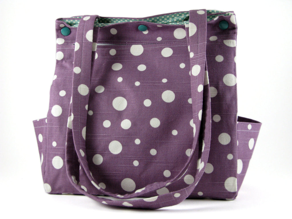 Large Purse Caryall Tote in Purple and White Dots