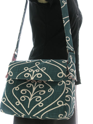 Large Everyday Purse Shoulder Bag in Teal and White Baroque