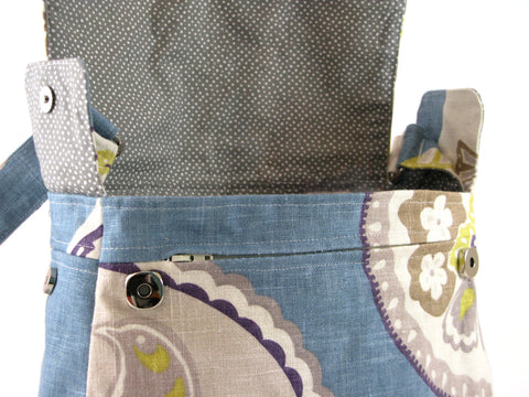 Large Everyday Purse Shoulder Bag in Periwinkle Blue with Multicolour Edwardian Print
