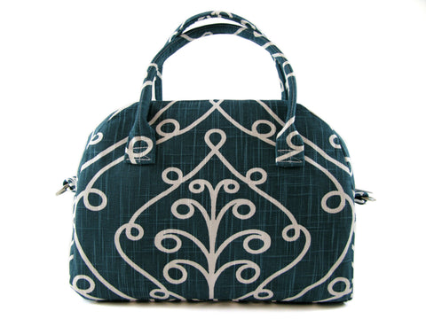 Bowling Handbag Zippered Purse in Teal and White Baroque