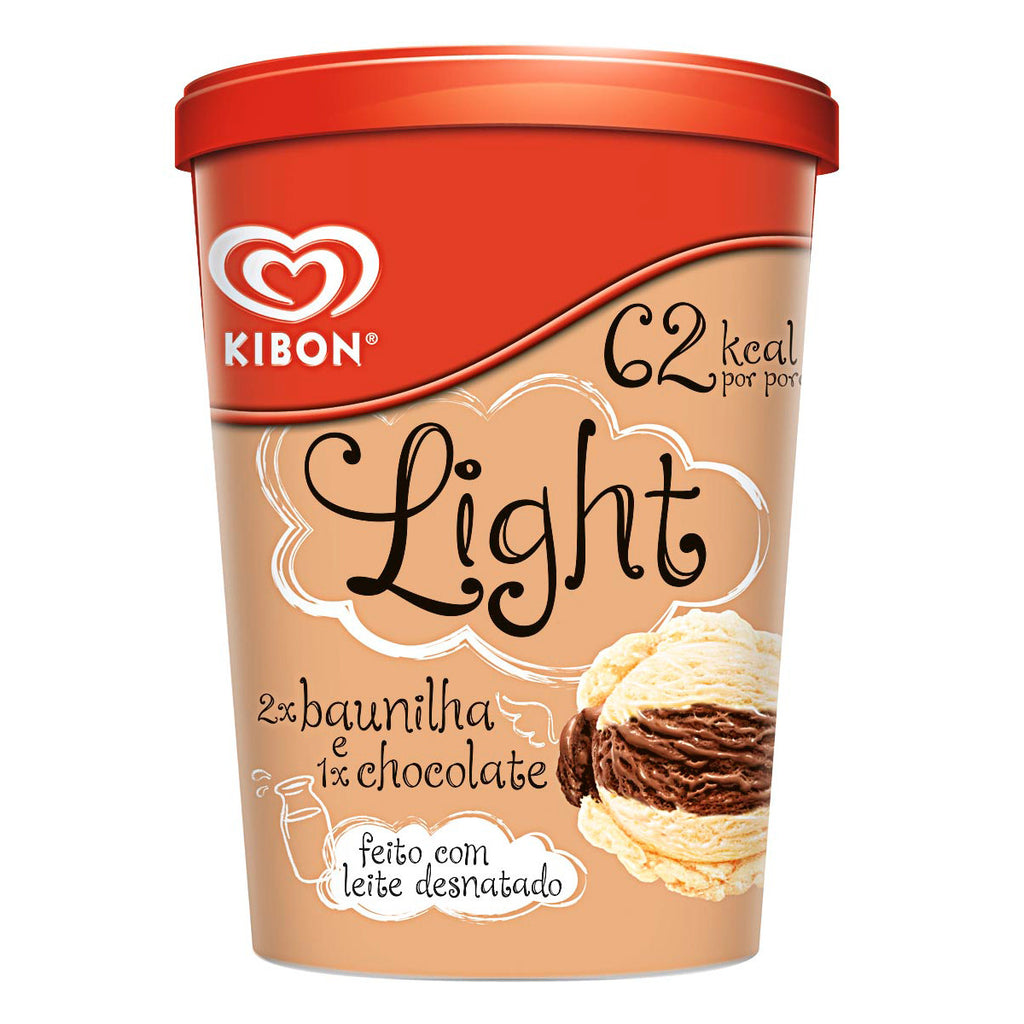 Kibon Baunilha e Chocolate Light 1L