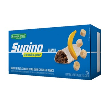 Supino Light Banana Cobertura Chocolate Branco 72g