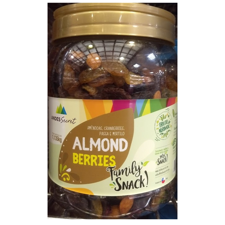 Andes Secret Almond Berries Family Snack (Amêndoas, Cranberries, Passa e Mirtilo) 1.135g