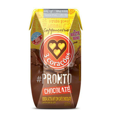3 Corações Cappucino #Pronto Chocolate 187mL