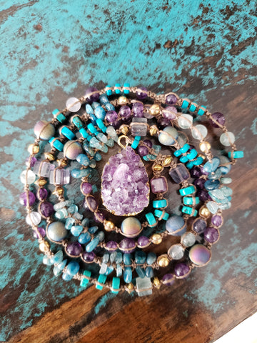 Amethyst Druzy Fluorite Turquoise Necklace