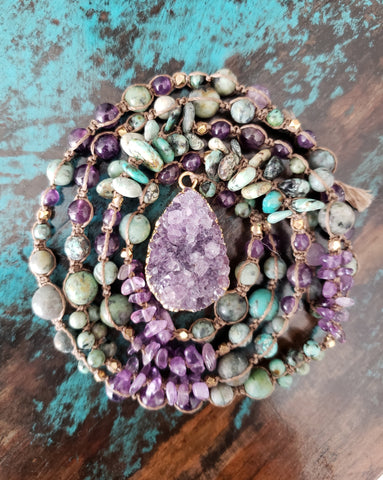 Amethyst Druzy African Turquoise Necklace