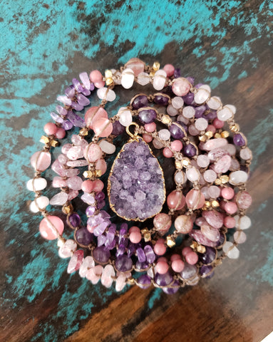 Amethyst Druzy Strawberry & Cherry Quartz Necklace