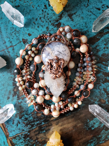 Ganesha Dendritic Opal Spirit Quartz Necklace
