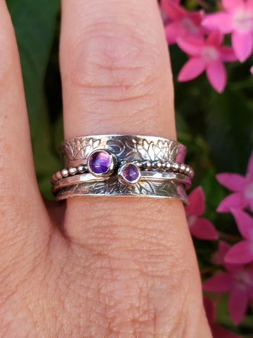 Size 8.5 Double Amethyst Meditation Ring