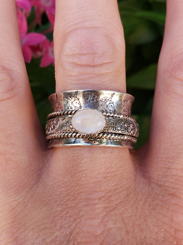 Rainbow Moonstone Unicorn Spinner Ring