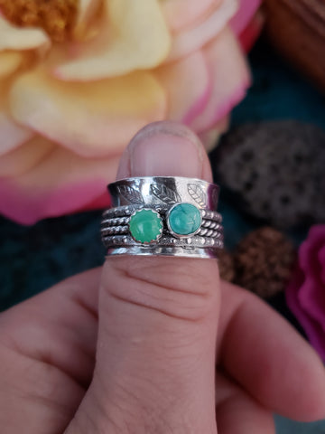 RESERVED - Size 6 Chrysoprase, Turquoise Meditation Ring