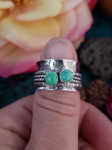 Chrysoprase and Turquoise Meditation Ring