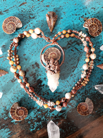 Ammonite and Spirit Quartz Ganesha Necklace