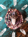 Amethyst and Spirit Quartz Rose Necklace
