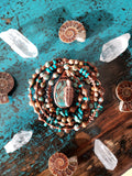 Electroformed Turquoise Feather Macrame Necklace