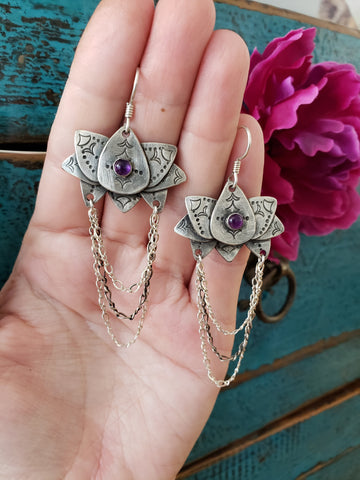Amethyst Lotus Dangle Earrings