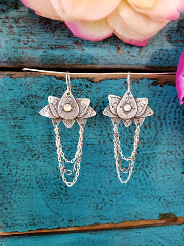 Opal Lotus Dangle Earrings