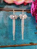 Moonstone Lotus Dangle Earrings