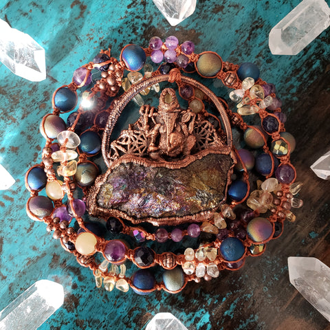 Electroformed Peacock Ore Ganesha Macrame Necklace