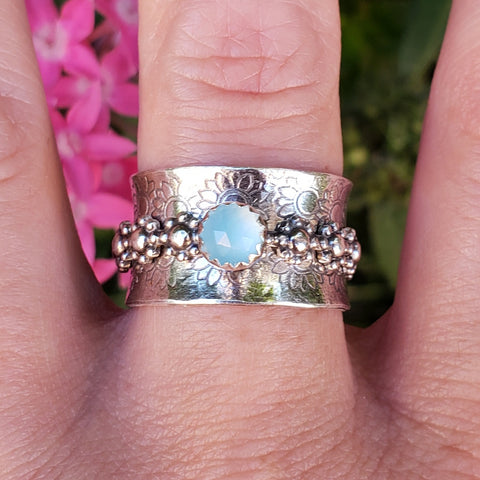 Blue Chalcedony Flower Child Meditation Ring