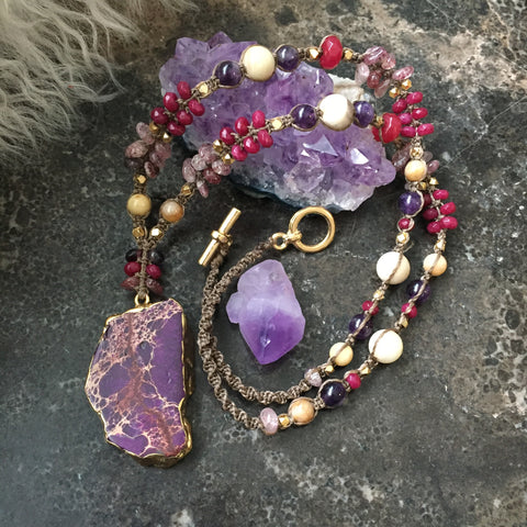 Purple Sea Sediment Necklace