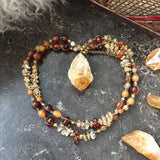 Citrine Point Amber Necklace