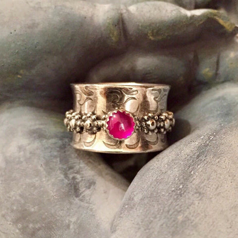 Ruby Flower Spinner Meditation Ring