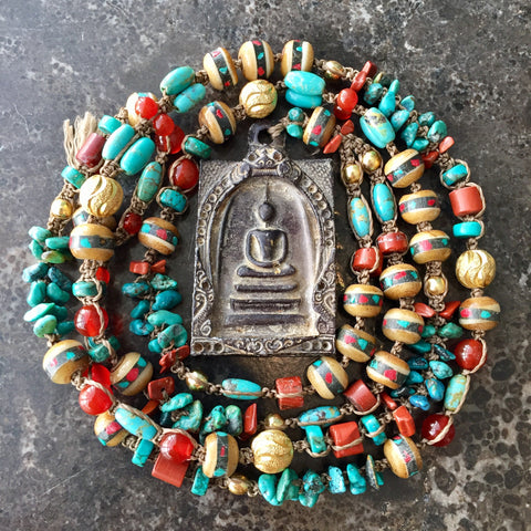 Turquoise Yak bone Yogi Necklace