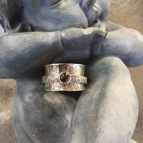 Ganesha Garnet Meditation Ring