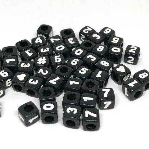 Alphabet/Letter Beads - Black Number Beads - 100 Mixed
