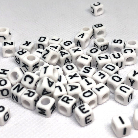 Alphabet/Letter Beads - White Alphabet Beads 6mm - 300 Mixed