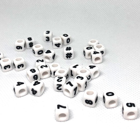 Alphabet/Letter Beads - White Cube Number Beads - 100 Beads