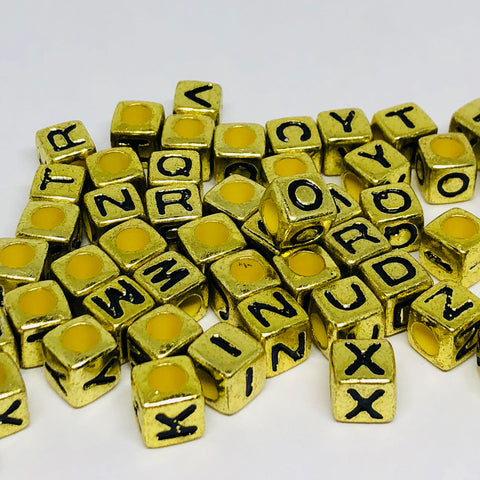 Alphabet/Number Beads - Gold Letter Beads - 150 Mixed