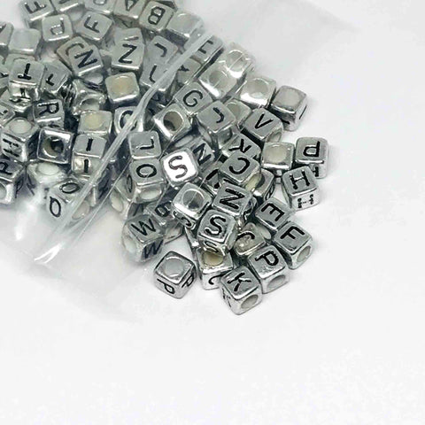 Alphabet/Number Beads - Silver Letter Beads - 150 Mixed