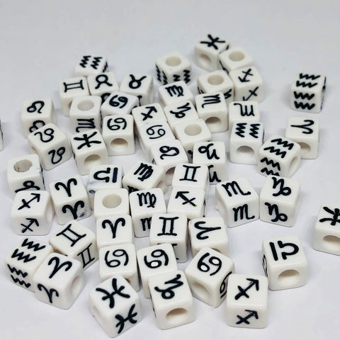 Alphabet/Number Beads - Zodiac Beads - 100 Mixed