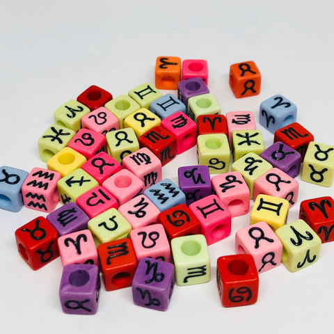 Alphabet/Number Beads - Zodiac Colorful Beads - 100 Mixed