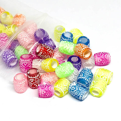 Charm/Pendant - Colorful Pattern Barrel Beads  - 100 Pieces