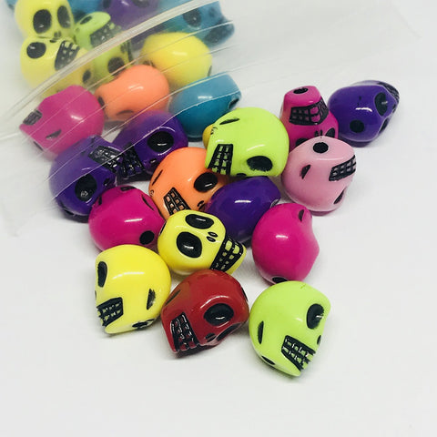 Charm/Pendant - Electric Skull Beads- 25 Pack