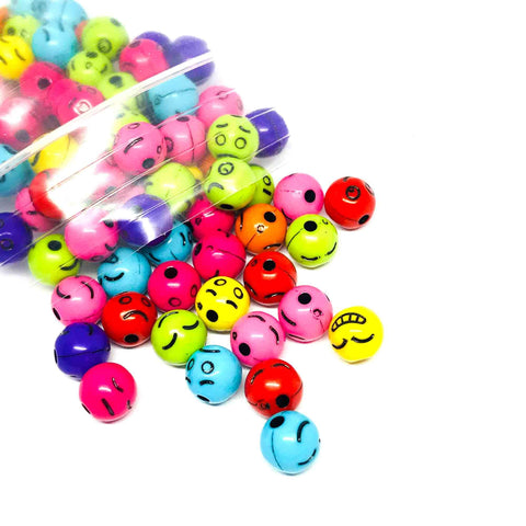 Charm/Pendant - Emoji Colorful Beads - 100 Assorted