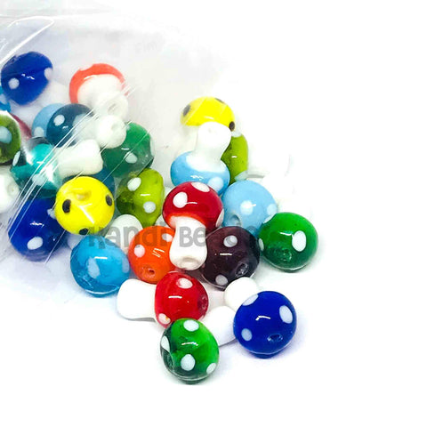 Charm/Pendant - Glass Mushroom Colorful Rave Beads - 20 Pieces