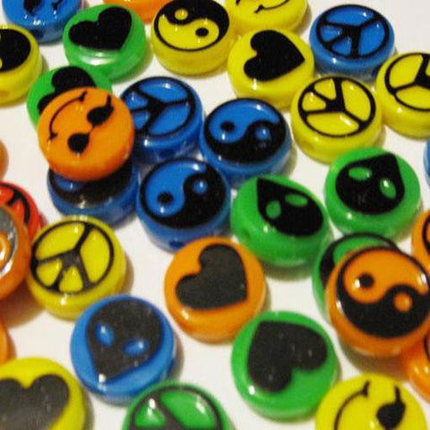 Charm/Pendant - Hippie Picture Beads 40 Pieces